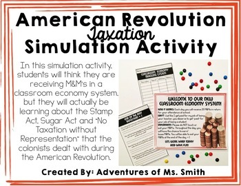 American Revolution *Taxation* Simulation Activity Freebie
