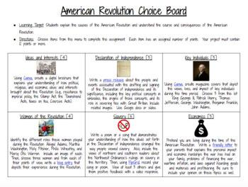 American Revolution Technology Two Pack Bundle: Digital Breakout & Choice  Board