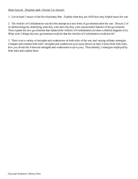 Revolutionary War Test for World History 2 Editable Versions