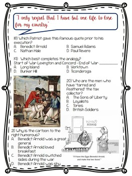 American Revolution Test; 50 multiple-choice Questions; DBQ; Revolutionary War