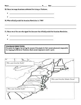 American Revolution Test (Fourth Grade)