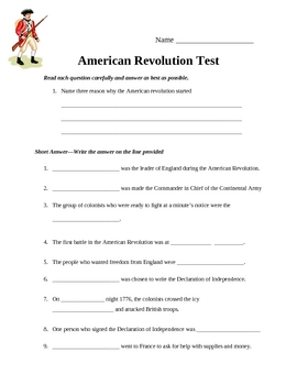 American Revolution Test (Important people, places, and events)