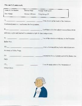 American Revolution Test- Pennsylvania Unit- Social Studies- 4th Grade