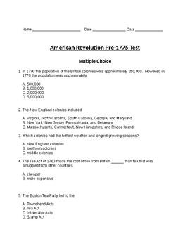 American Revolution Test Pre-1775