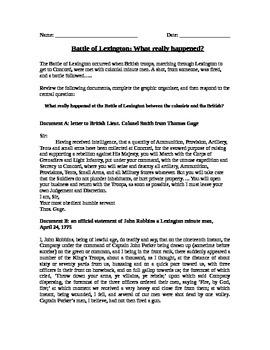American Revolution: The Battle of Lexington documents, graphic organizer, essay