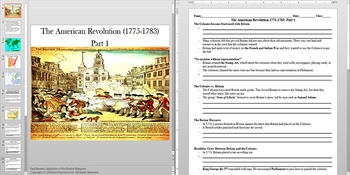 American Revolution The Boston Massacre Powerpoint AND Notes Worksheet