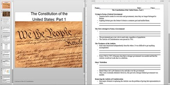 American Revolution The Constitution part 1 Powerpoint AND Notes Worksheet