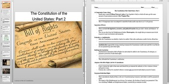 American Revolution The Constitution part 2 Powerpoint AND Notes Worksheet
