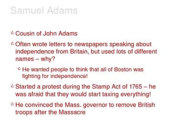 American Revolution - The Firebrands