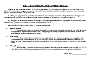 American Revolution: The Great Patriot Loyalist Debate Project