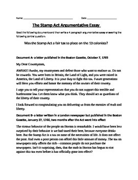 American Revolution- The Stamp Act Argumentative Essay