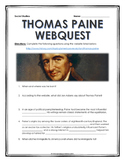 American Revolution - Thomas Paine - Webquest with Key