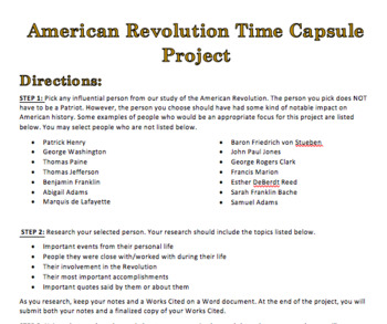 American Revolution Time Capsule Project