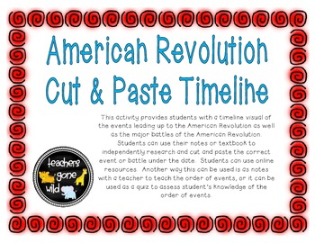 American Revolution Timeline Cut Paste Activity By Gone Wild Designs
