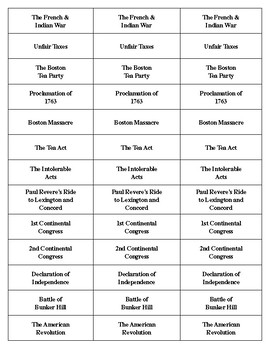 American Revolution Timeline Domino Template