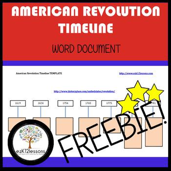 American Revolution Timeline | FREEBIE! | Word document