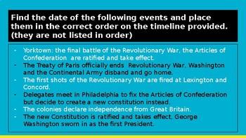 American Revolution Timeline Instruction Slide