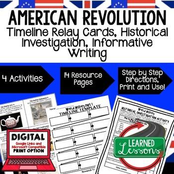 American Revolution Timeline, Investigation, & Writing (Pa