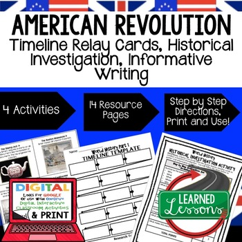 American Revolution Timeline, Investigation, & Writing (Paper and Google )