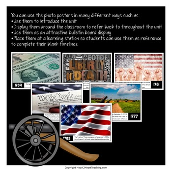 Revolutionary War Activities: Timeline Kit with Photo Posters for Bulletin Board