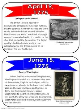 American Revolution Timeline Task Cards