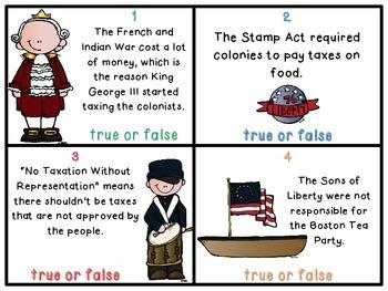 American Revolution True or False Task Cards