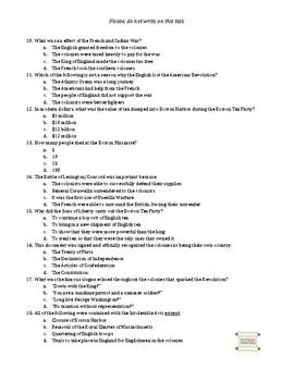 American Revolution - Unit Assessment