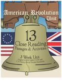 American Revolution Unit, Close Reading Activities, grades 4-5