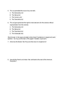 American Revolution Unit Final Exam and Alternative Assessment