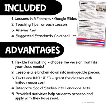 American Revolution Unit: Informational Texts & Activities  Low Prep