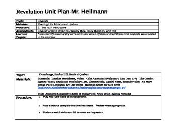 American Revolution Unit Plan