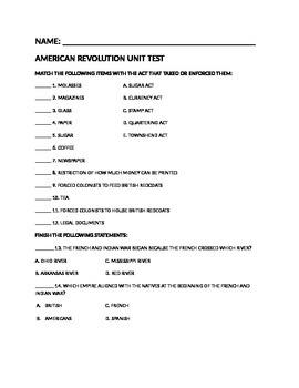 American Revolution Unit Test