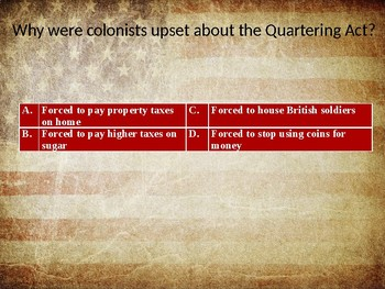American Revolution Unit Test Review Powerpoint