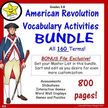 American Revolution Vocabulary Activities Bundle