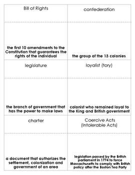 American Revolution Vocabulary Bingo