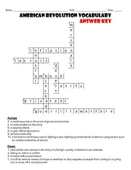 American Revolution Vocabulary Crossword Puzzle