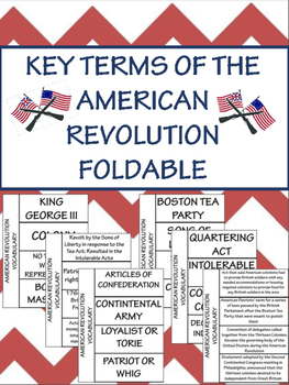 American Revolution Vocabulary Foldable; Interactive Notebook