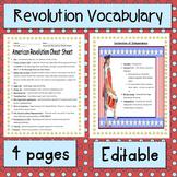 American Revolution Vocabulary List