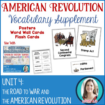 American Revolution Vocabulary Posters, Flash Cards, and Word Wall Cards