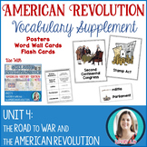 American Revolution Vocabulary Posters, Flash Cards, and W