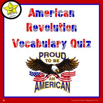 American Revolution Vocabulary Quiz