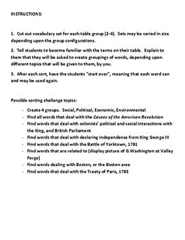 American Revolution Vocabulary Sort