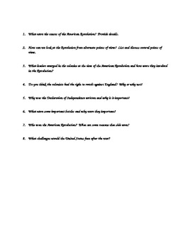 American Revolution Vocabulary Quiz and Essential Questions
