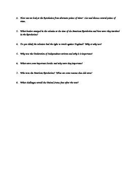 American Revolution Vocabulary Assignment, Vocab Quiz and Essential Questions