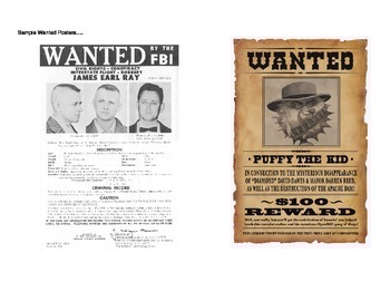 American Revolution:  Wanted Poster Assignment