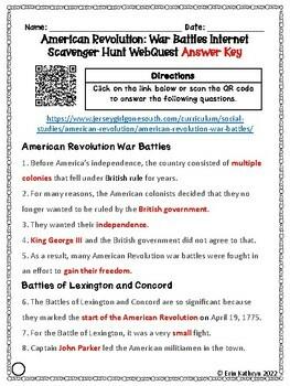 American Revolution - War Battles Internet Scavenger Hunt WebQuest