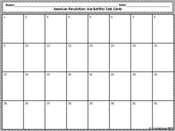 American Revolution - War Battles Review Task Cards - Set of 32