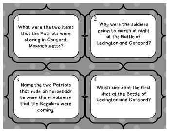 American Revolution - War Battles Review Task Cards - Set of 32