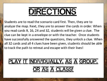 Escape American Revolution War Review Task Card Game Activity