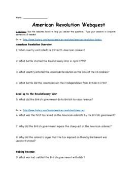 Revolutionary War Webquest (Causes, Events, and Battles)